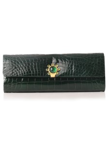 Jada Loveless Classic Petite Clutch, Jada Loveless, Classic petite Clutch, Jada Loveless clutch, Jada Loveless handbag, Alligator handbag, alligator, dark green alligator, dark green clutch, dark green handbag, petite clutch