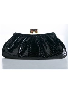 Jada loveless piaf, jada loveless piaf clutch, jada loveless clutch, python clutch, evening clutch, python bag, exotic bag, jada loveless handbag, jada loveless, black python bag, jada loveless classic, jada loveless classic collection