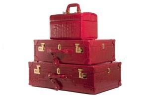 Jada loveless travel set, jada loveless, jada loveless travel collection, jada loveless bespoke, jada loveless, travel set, travel collection, bordeaux alligator, alligator bag, alligator travel set